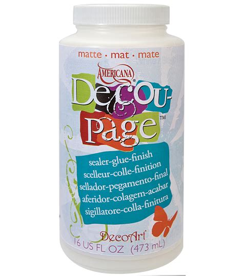 Decoupage Products - decoart americana decoupage glue 16 oz matte jo