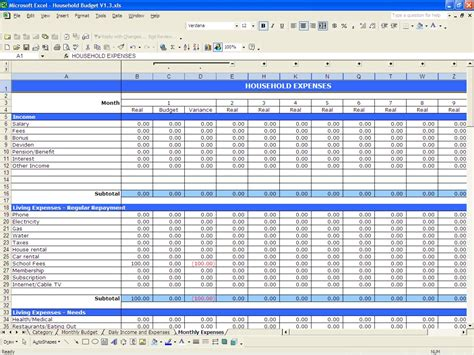 yearly personal budget template yearly budget template monthly expense spreadsheet