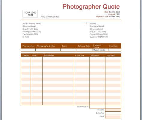 Photography Quotation Template Quote Template Photography Estimate Template