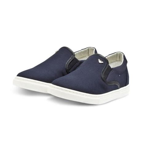 armani junior navy slip on canvas shoes fashion