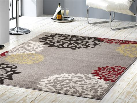 teppich rot grau kurzflor velours teppich dandelion grau braun gelb