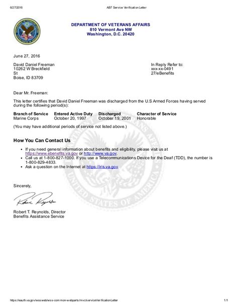 Proof Of Service Letter Navy ab7 service verification letter