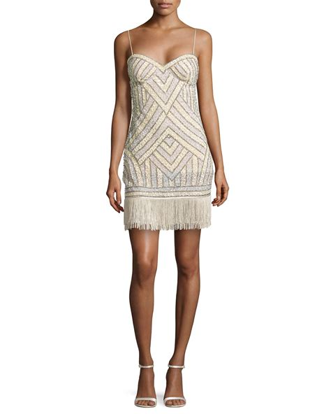 Aidan Mattox Beaded Cocktail Dress W Fringe Hem In Silver