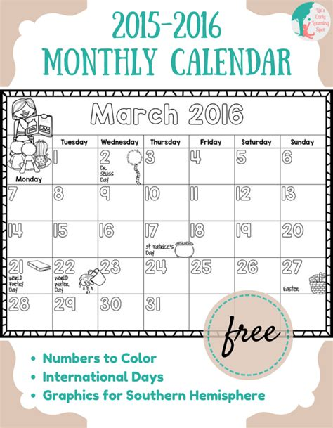 printable lesson plan calendar 2016 free 2015 2016 monthly calendar for kids learning