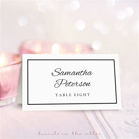 wedding place card template free printable