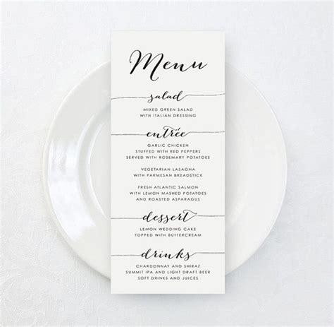 bridal shower menu card template 25 best ideas about menu cards on wedding