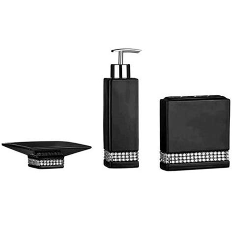 3 black radiance ceramic bathroom accessories set at