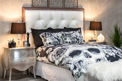 featherweight skull bedding black floral printed by inkandrags