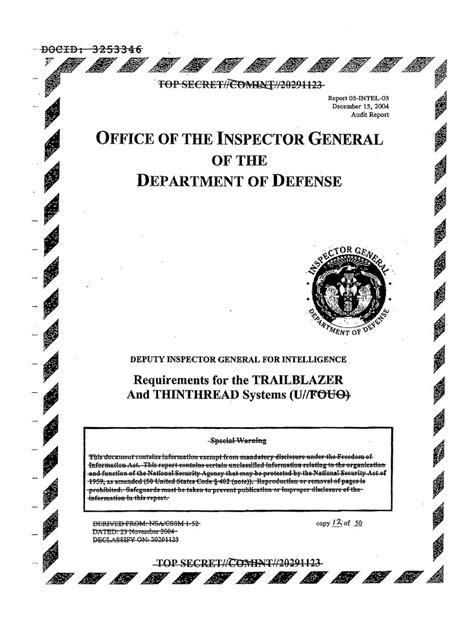top secret report template declassified dod inspector general report on nsa