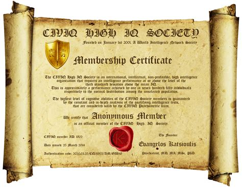 iq certificate template membership civiq high iq society