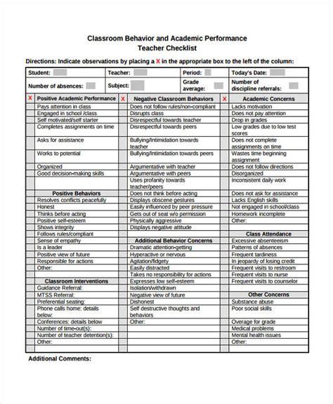 10 behavior checklist templates free sles exles