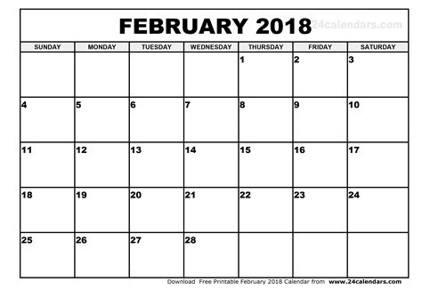 Calendar 2018 Feb February 2018 Calendar Printable