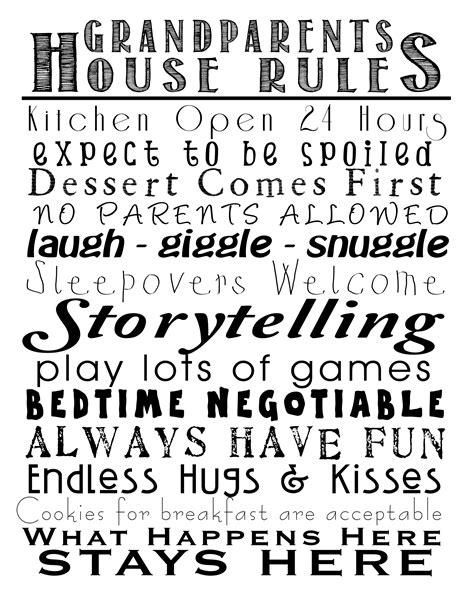 printable grandparent quotes grandparents house rules free printable blessed beyond words