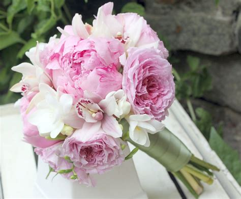peonies and orchids david austen garden roses pink peonies white freesia and