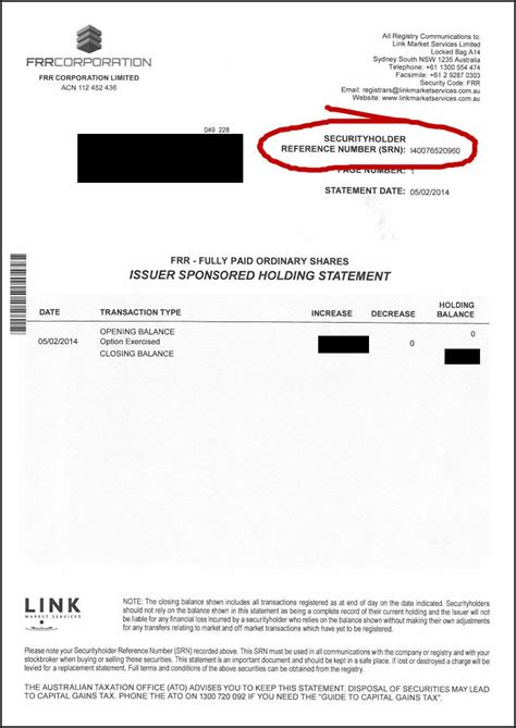 dividend statement template australia finding your security reference number srn to sell
