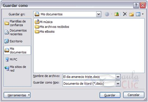 en el cuadro que aparece lo dejais como en la siguiente imagen guardar y guardar como microsoft office word 2007 2010