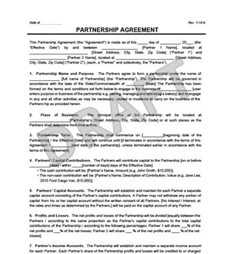 Limited Partnership Agreement Template Free partnership agreement template create a partnership