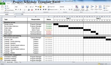 excel template schedule project schedule template lisamaurodesign