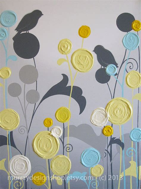 Items similar to yellow and grey art textured flowers and birds acrylic paintings on canvas