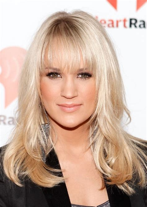 blonde straight bob haircut with wispy bangs hairstyle carrie underwood long straight hairstyles with wispy bangs