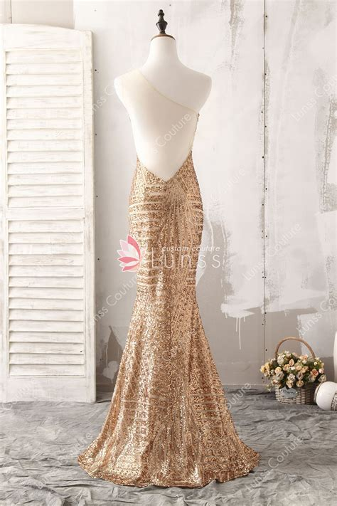 Sparkling Gold Asymmetric One shoulder Sequin Fit and
