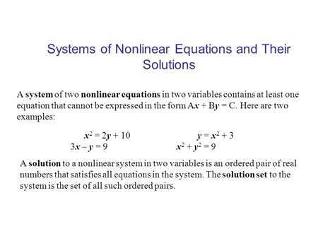Systems Of Nonlinear Equations Worksheet by Collection Of Systems Of Nonlinear Equations Worksheet