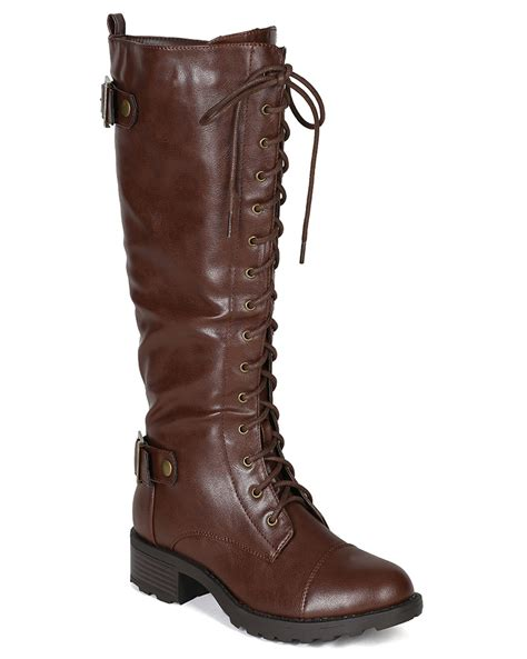 nature combat 01 new pu lace up buckle knee