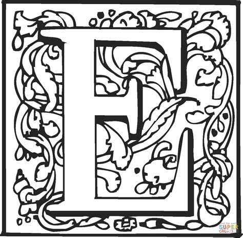 coloring pages with letter e click the letter e with ornament coloring pages coloring