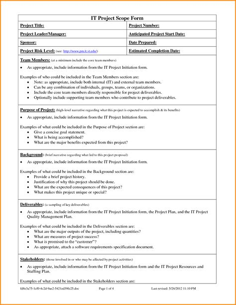 Project Scope Template Cyberuse Project Plan Scope Template