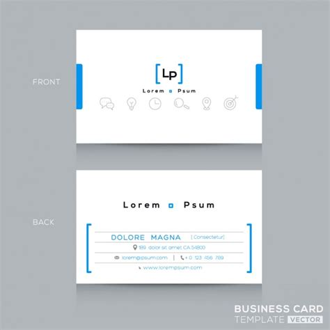 pale blue business card template free white and blue minimalist business card vector free