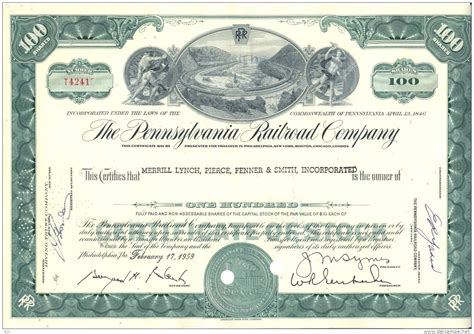 bond certificate template bond stock certificate pennsylvania railroad railway