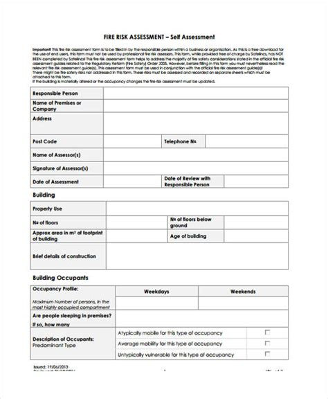 6 fire risk assessment templates free sles exles