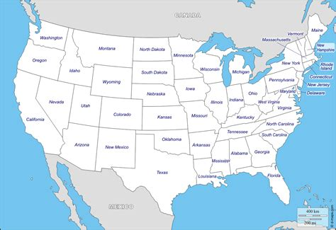 map of usa with states blank map of usa with state boundaries