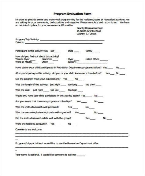 program evaluation form best resumes