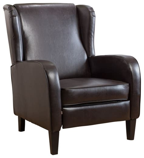 wingback rocker recliner hadley espresso leather wingback club chair recliner