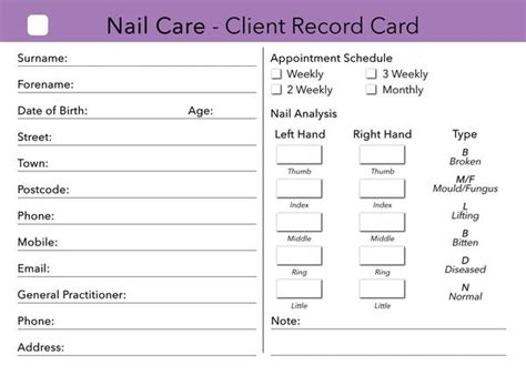nail technician client record card template nail care client card treatment consultation card