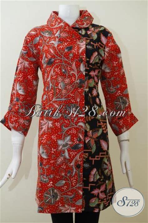 Dress Charlote Hitam Bahan Twistcone Kombi Katun Batik Asli Sleti dress batik kombinasi warna merah dan hitam berpadu motif trendy baju batik klasik prose print