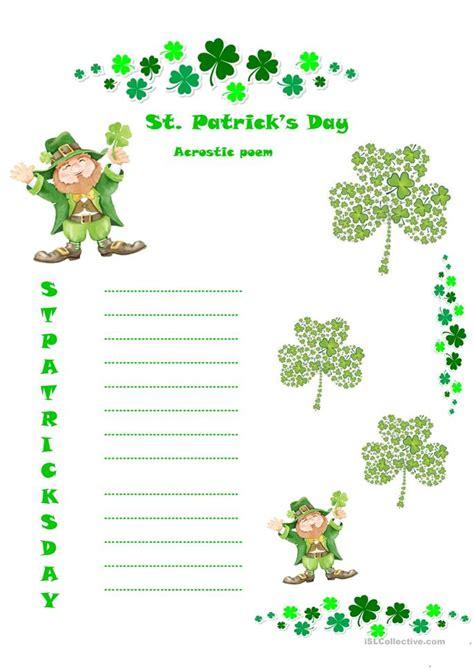 poem from a leprechaun shamrock acrostic poem poem them 6 free esl acrostic worksheets