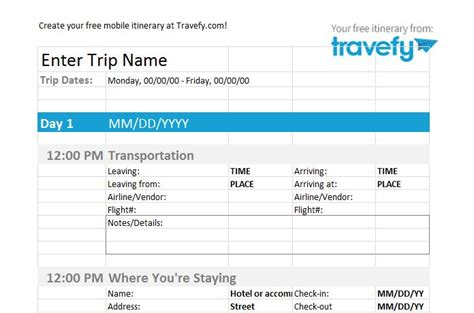 30 Itinerary Templates Travel Vacation Trip Flight Free Template Downloads How To Make Travel Itinerary Template
