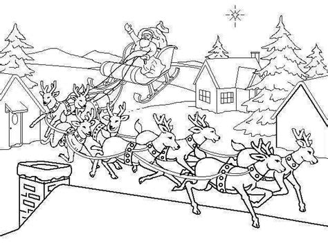 christmas coloring pages hd hd santa all his reindeer christmas coloring pages