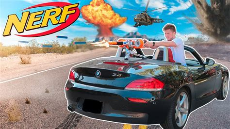 nerf car nerf war defend the base nerf car turret youtube