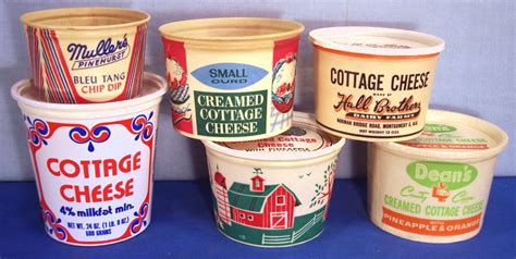 flavored cottage cheese waxed cottage cheese containers 1950 s 1960 s
