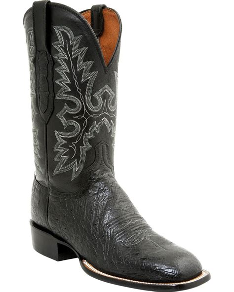 lucchese square toe boots mens lucchese s smooth ostrich western boot square toe