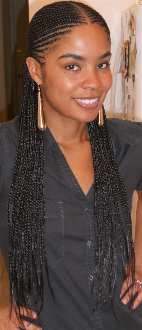 cornrow extensions with human hair feed in cornrows starburst mohawk right side view