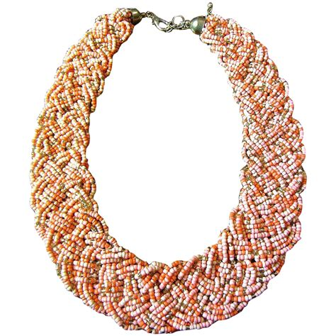 vintage salmon gold glass micro bead woven braided