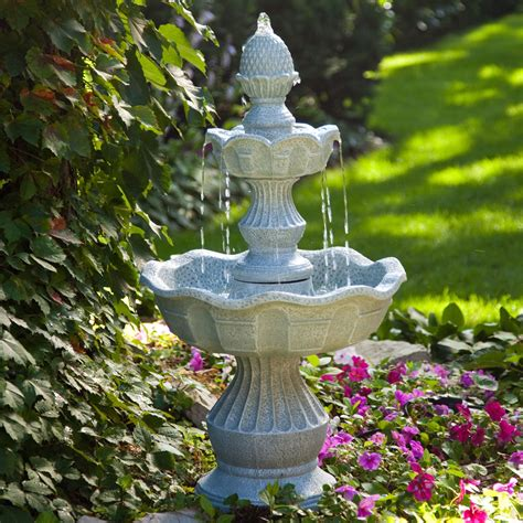 patio fountains 2 tier outdoor with pineapple top in weather