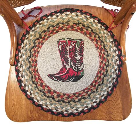Western Dining Room Chair Cushions Braided Chair Pads Cowboy Boots Western Decor Country