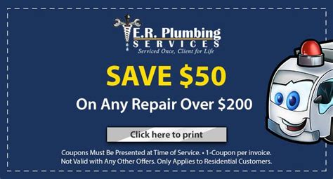 U Save Plumbing by Coupons E R Plumbing Services