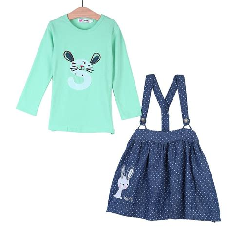 pattern for t shirt skirt 2pcs long sleeve bunny pattern t shirt with denim