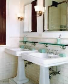 Vintage bath subway tile cove molding pedestal sink antique